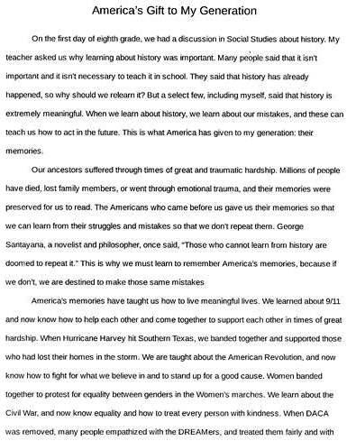 What is america's gift to my generation essay